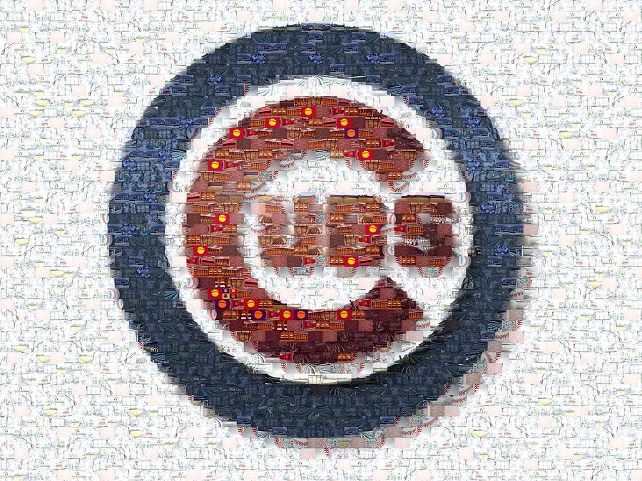Chicago Cubs Photograph - Chicago Cubs Mosaic by David Bearden