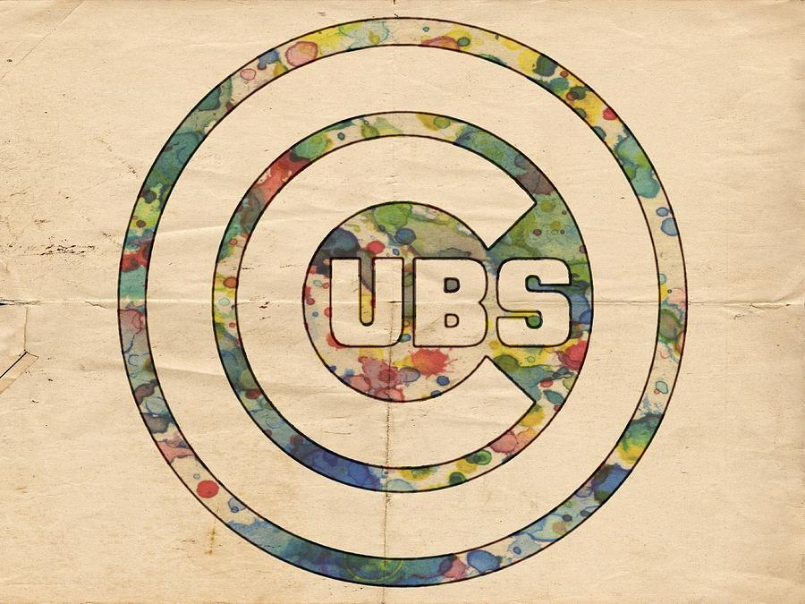 Chicago Cubs Vintage Logo Painting By Florian Rodarte