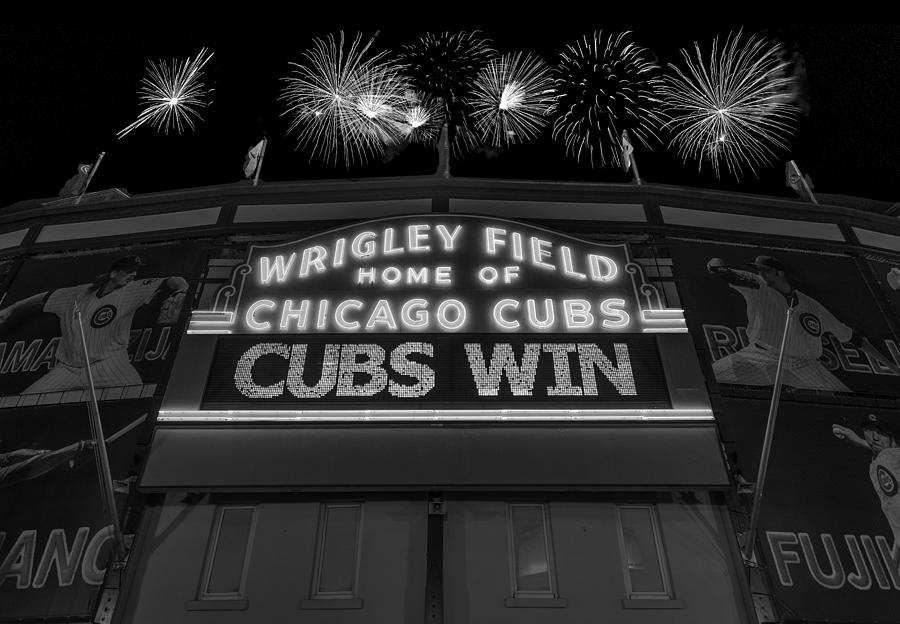Chicago Photograph - Chicago Cubs Win Fireworks Night B W by Steve Gadomski
