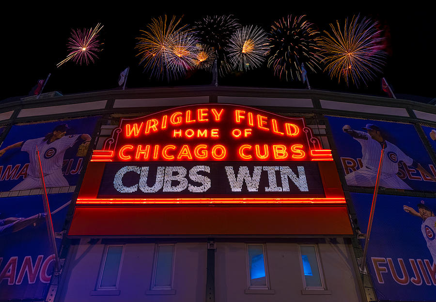 Chicago Cubs Win Fireworks Night Photograph