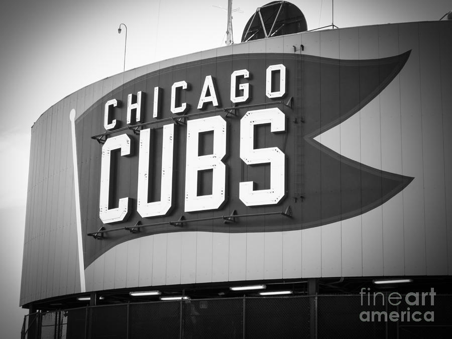 America Photograph - Chicago Cubs Wrigley Field Sign Black And White Picture by Paul Velgos