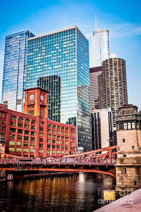 America Photograph - Chicago Downtown At Lasalle Street Bridge by Paul Velgos