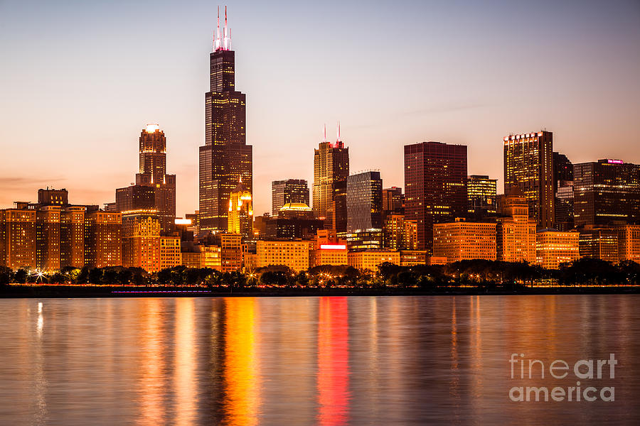 America Photograph - Chicago Downtown City Lakefront with Willis-Sears Tower by Paul Velgos