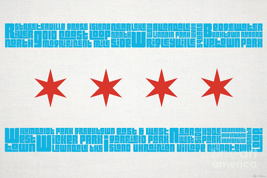 Chicago Mixed Media - Chicago Flag Neighborhoods by Mike Maher