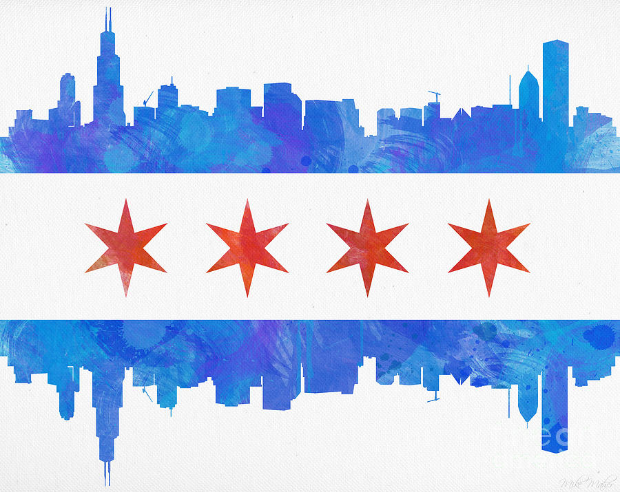 Chicago Painting - Chicago Flag Watercolor by Mike Maher