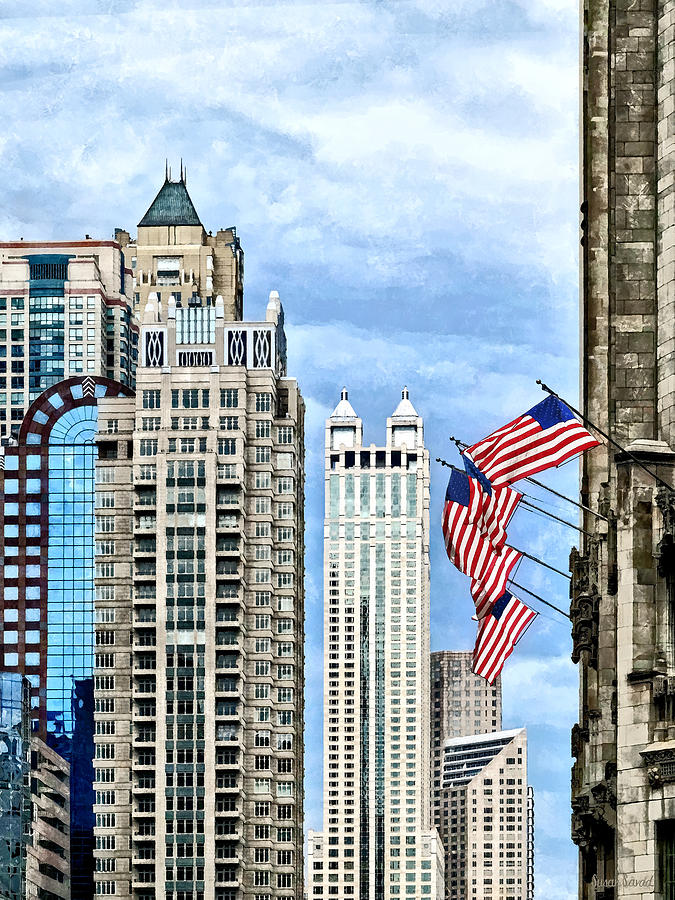Chicago Photograph - Chicago - Flags Along Michigan Avenue by Susan Savad