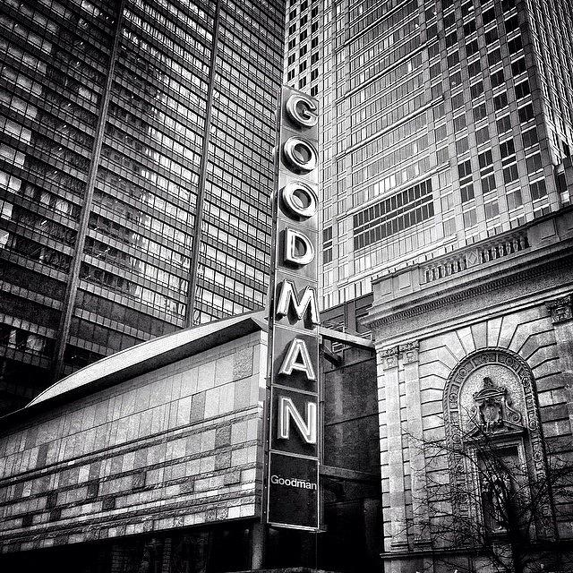 America Photograph - Chicago Goodman Theatre Sign Photo by Paul Velgos