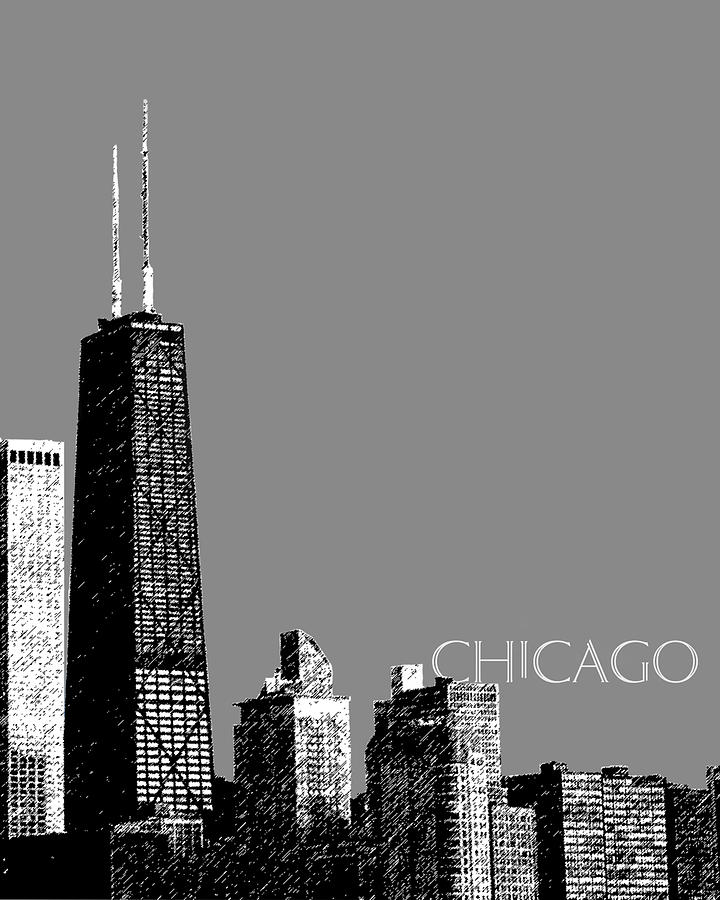 Architecture Digital Art - Chicago Hancock Building - Pewter by DB Artist