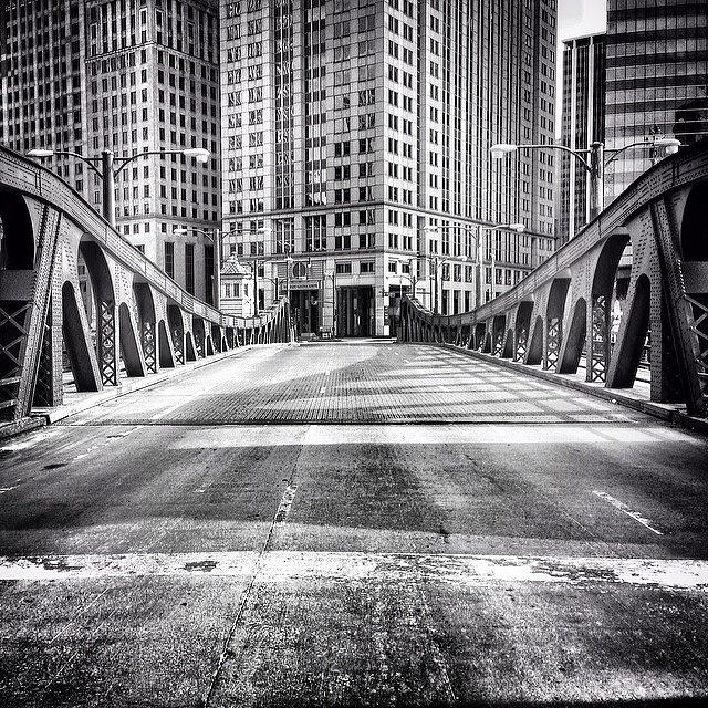 Bridge Photograph - #chicago #hdr #bridge #blackandwhite by Paul Velgos