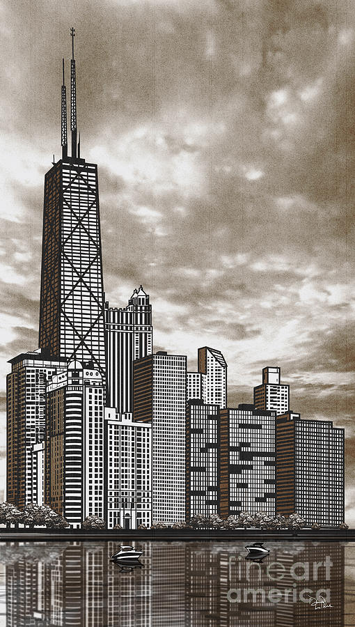 Chicago Drawing - Chicago Illinois no text by Doug LaRue