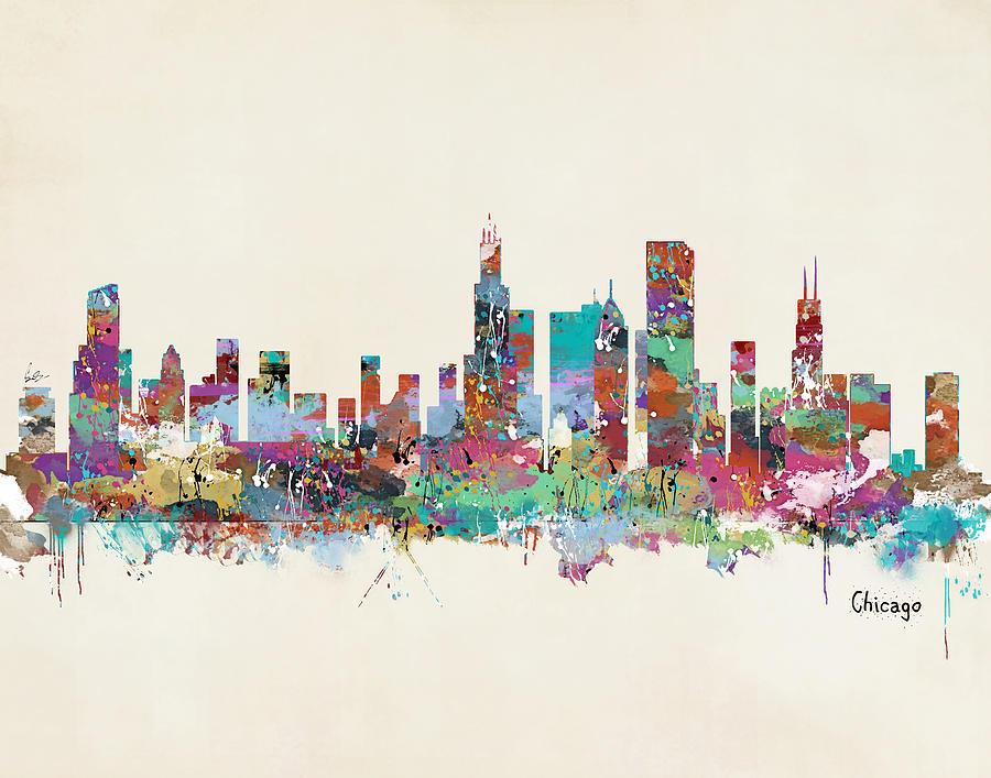 Chicago City Skyline Painting - Chicago Illinois Skyline by Bri Buckley