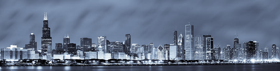 Chicago Skyline Photograph - Chicago In Blue by Sebastian Musial