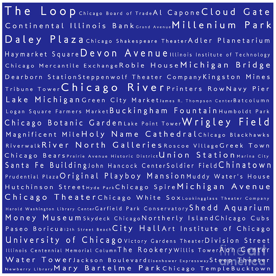 Chicago In Words Blue Photograph