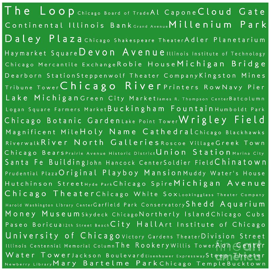 Chicago In Words Green Digital Art