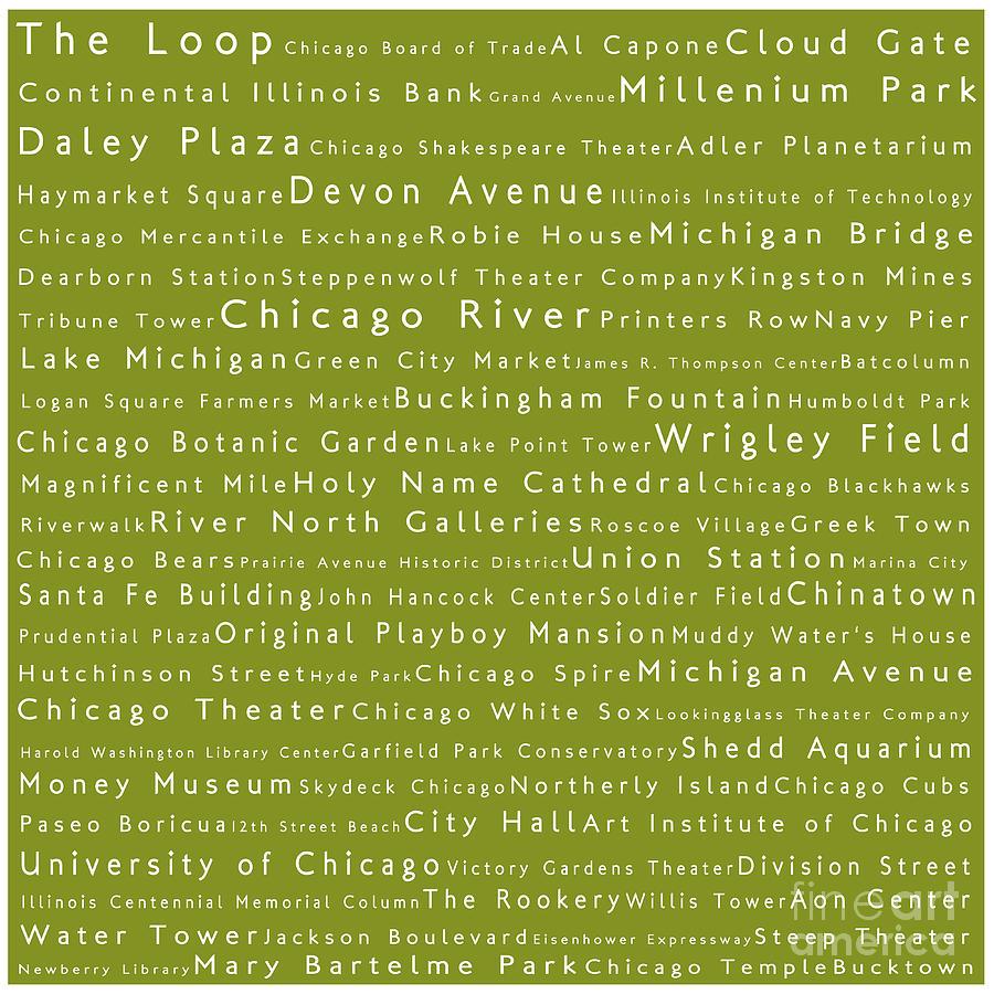 Chicago In Words Olive Digital Art