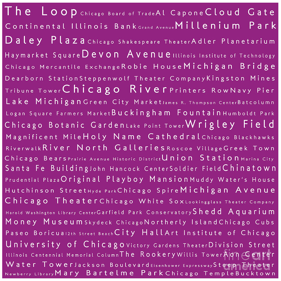 Chicago In Words Pink Photograph