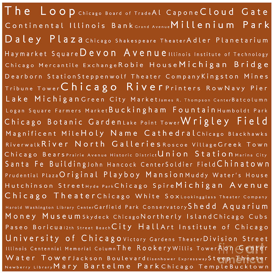 Chicago In Words Toffee Photograph