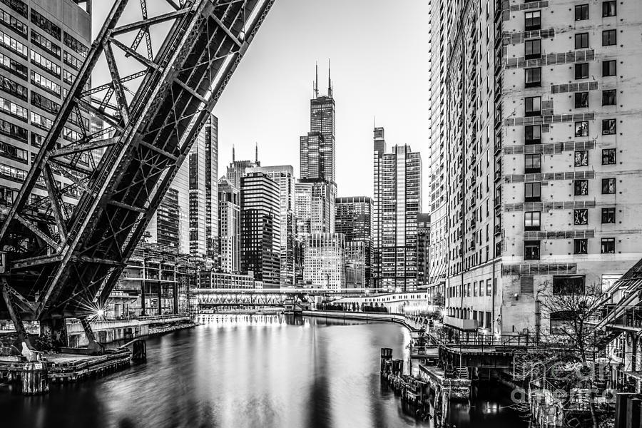 Chicago Kinzie Railroad Bridge Black And White Photo Photograph