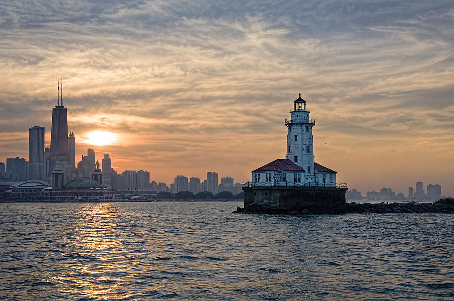 Chicago Photograph - Chicago Lighthouse And Skyline by John Hansen