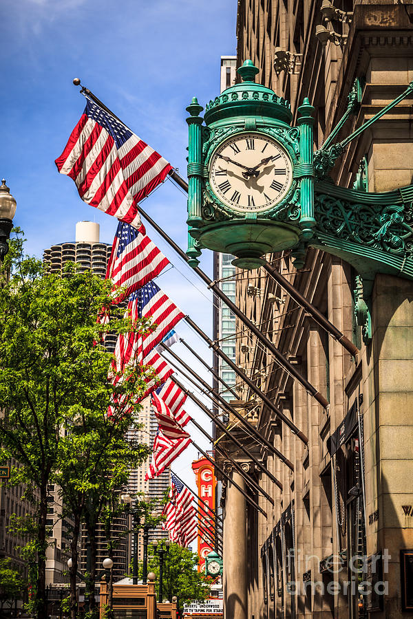 America Photograph - Chicago Macys Clock and Chicago Theatre Sign by Paul Velgos