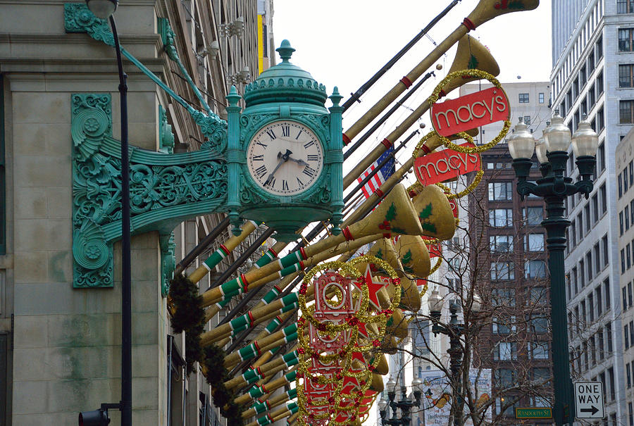 chicago photograph chicago macys department store clock and holiday decorations by thomas woolworth - Christmas Decoration Stores Chicago