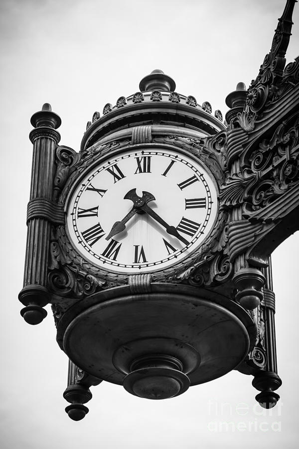 America Photograph - Chicago Macys Marshall Fields Clock In Black And White by Paul Velgos