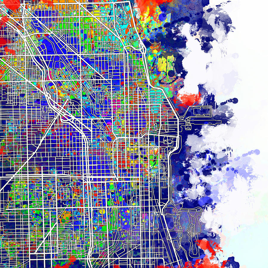 Chicago Painting - Chicago Map Color Splash by Bekim M