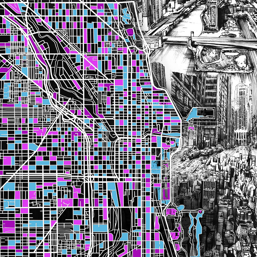 Chicago Painting - Chicago Map Drawing Collage 4 by Bekim M
