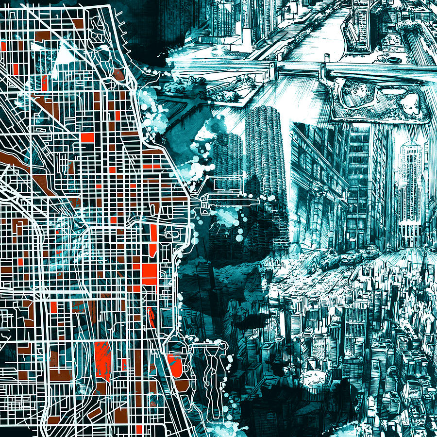 Chicago Painting - Chicago Map Drawing Collage by Bekim M