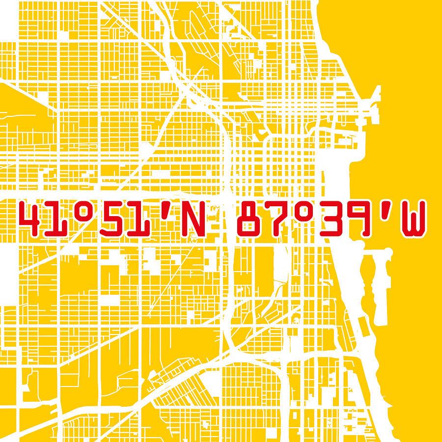 Chicago Map Yellow Digital Art By Big City Artwork - Chicago map artwork