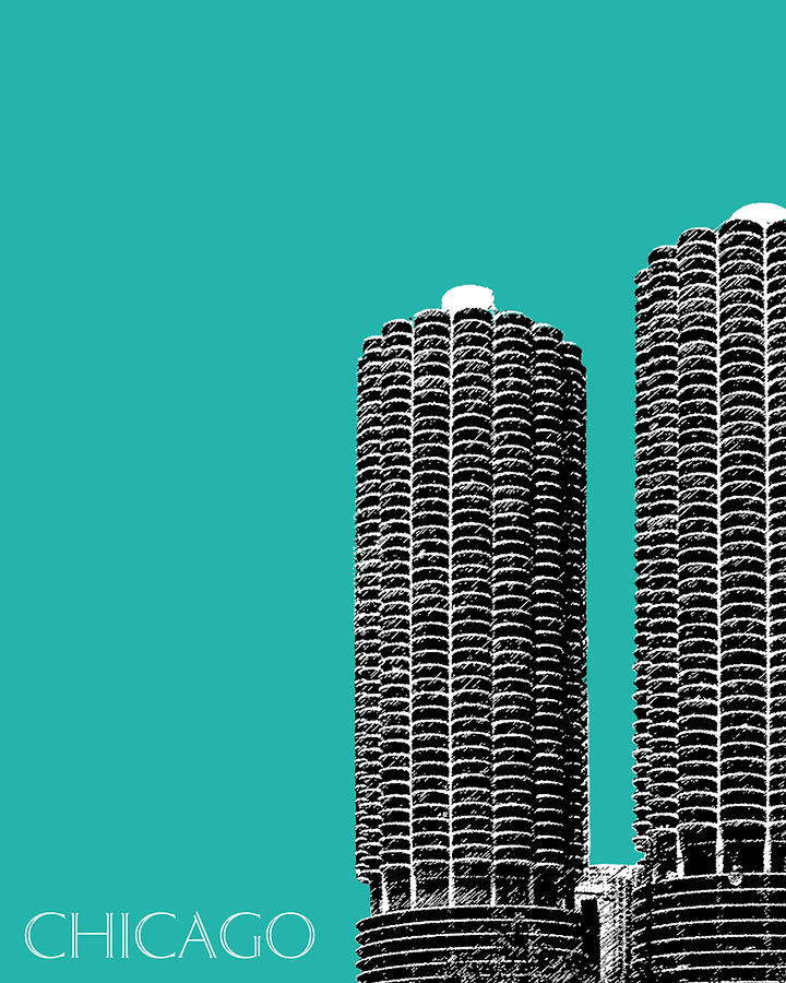 Architecture Digital Art - Chicago Skyline Marina Towers - Teal by DB Artist