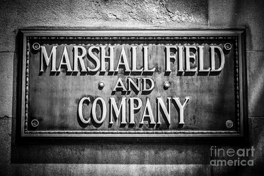 America Photograph - Chicago Marshall Field Sign In Black And White by Paul Velgos
