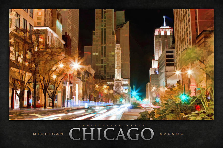 Chicago Painting - Chicago Michigan Avenue Light Streak Poster by Christopher Arndt