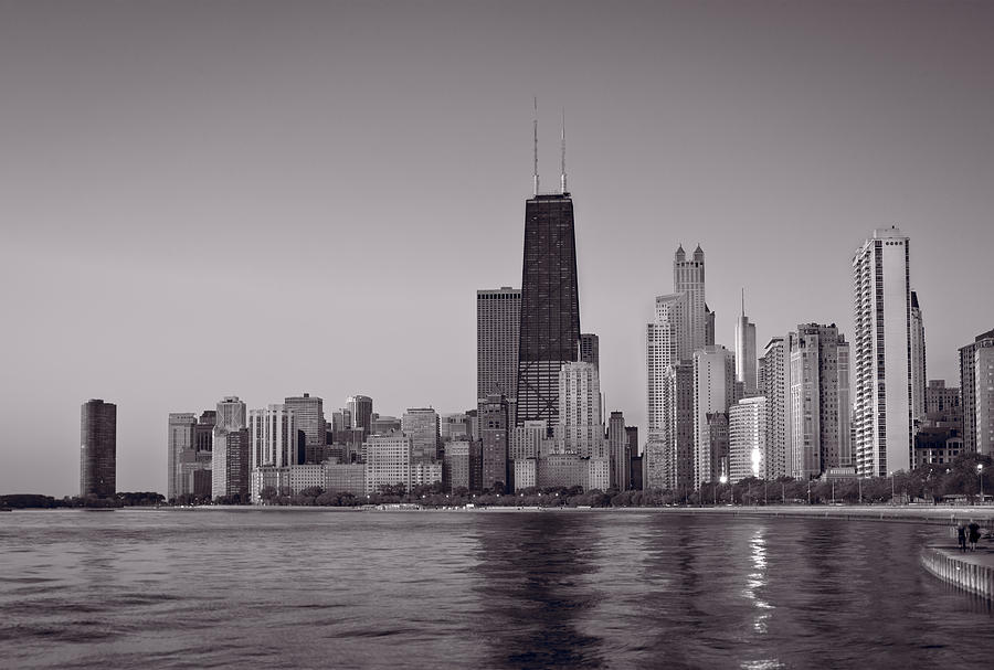 Chicago Morning Bw Photograph
