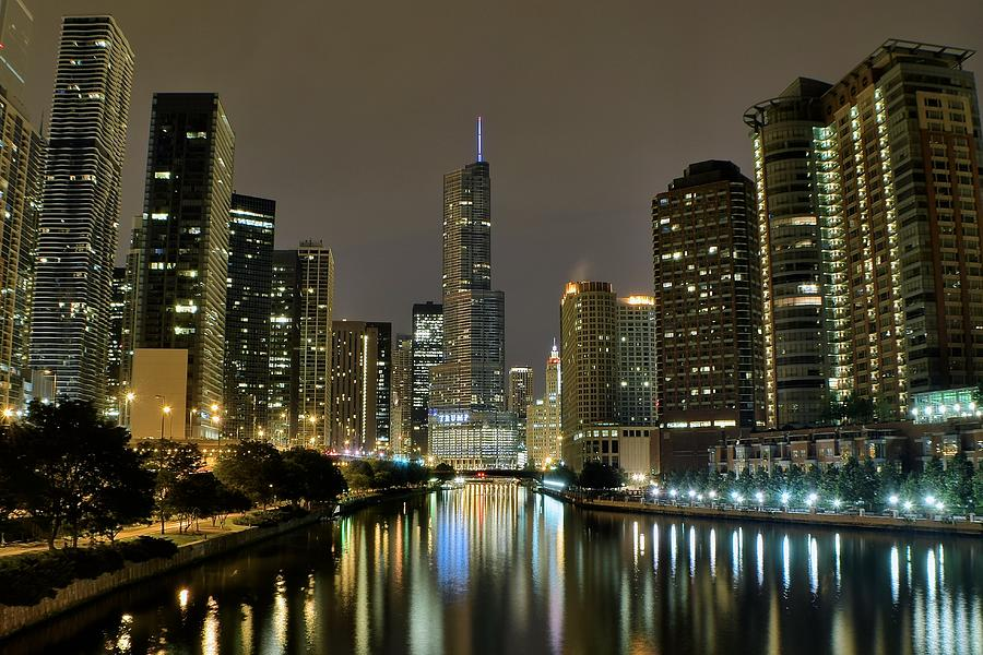 Chicago Photograph - Chicago Night River View by Frozen in Time Fine Art Photography