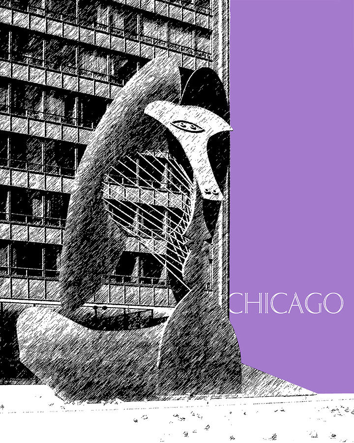 Architecture Digital Art - Chicago Pablo Picasso - Violet by DB Artist