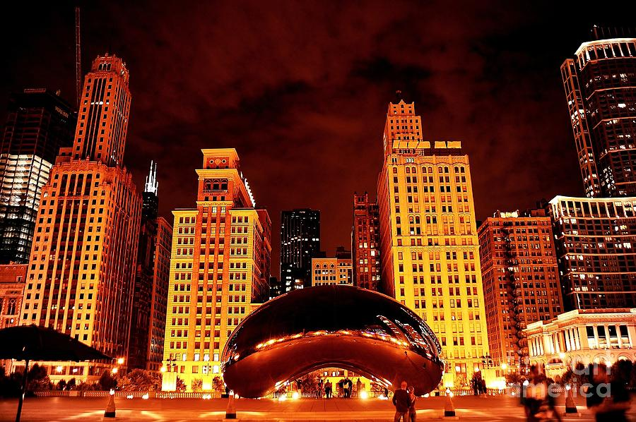 Chicago Photograph - Chicago Photography - The Bean At Night by Gene Mark