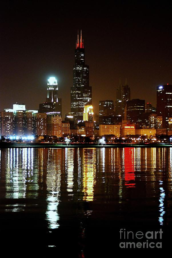 Night Photograph - Chicago Photography - Willis Tower At Night by Gene Mark