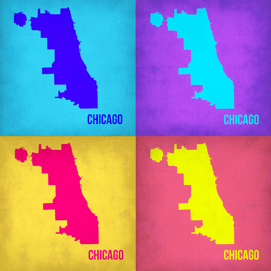 Chicago Map Painting - Chicago Pop Art Map 1 by Naxart Studio