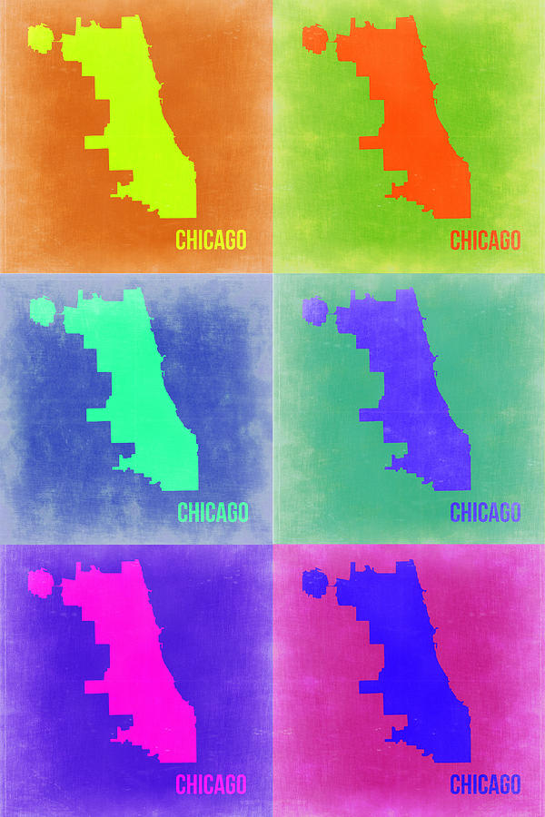 Chicago Map Painting - Chicago Pop Art Map 3 by Naxart Studio