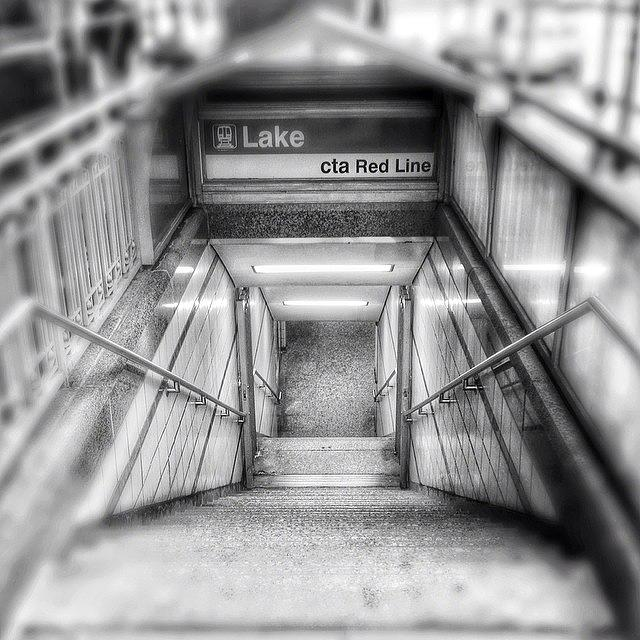 America Photograph - Chicago Lake CTA Red Line Stairs by Paul Velgos
