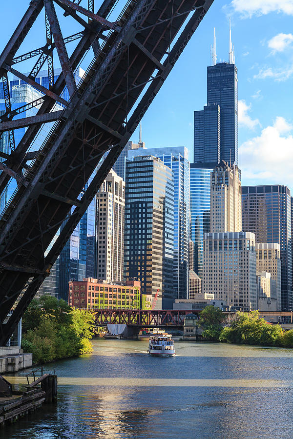 Chicago River And Towers Photograph by Fraser Hall
