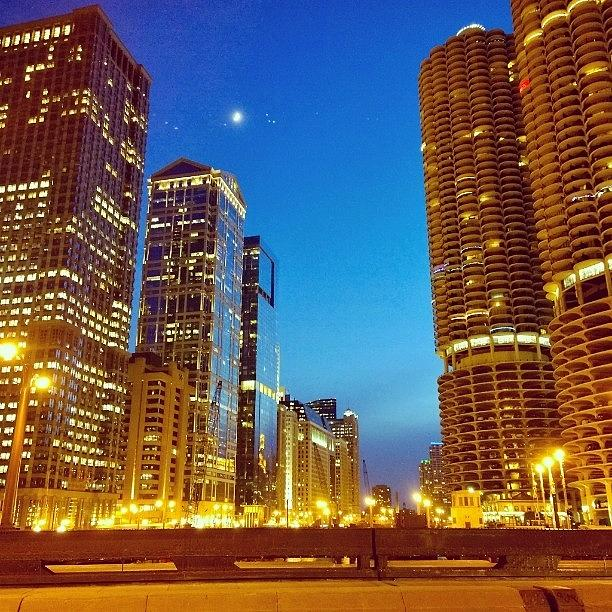 Cityscape Photograph - Chicago River Buildings At Night Taken by Paul Velgos