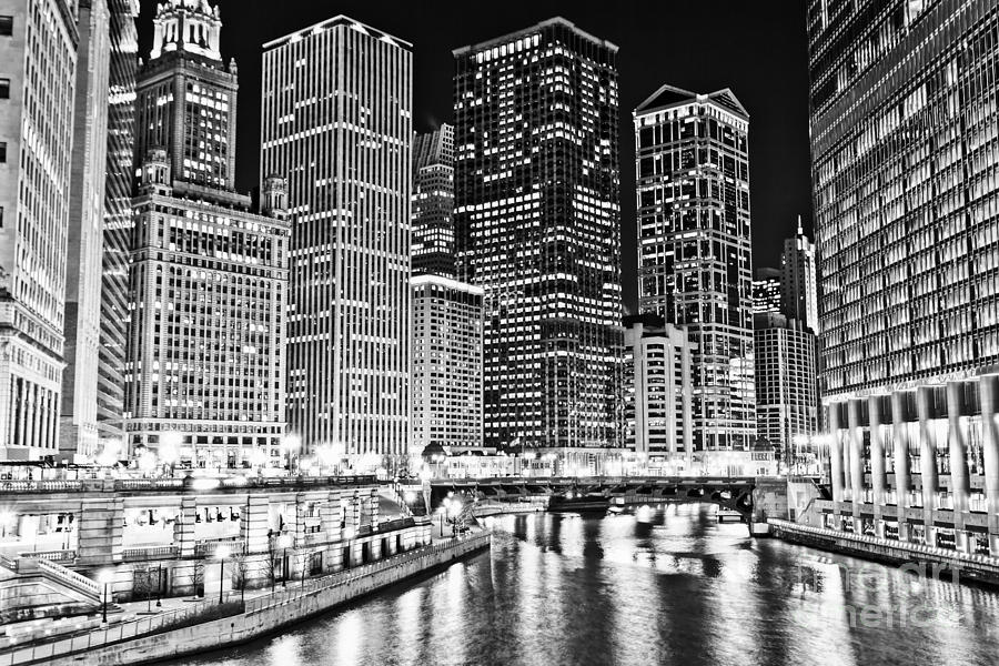America Photograph - Chicago River Skyline At Night Black And White Picture by Paul Velgos