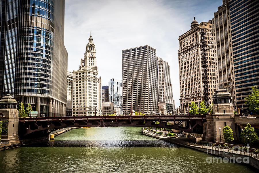 America Photograph - Chicago River Skyline At Wabash Avenue Bridge by Paul Velgos