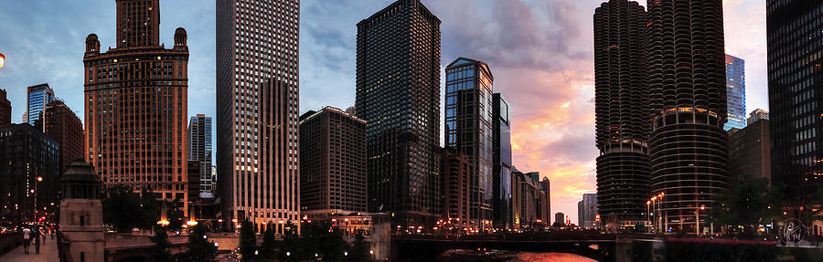 Chicago Photograph - Chicago River Sunset Pano 001 by Lance Vaughn