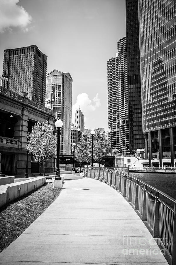 America Photograph - Chicago Riverwalk Black And White Picture by Paul Velgos