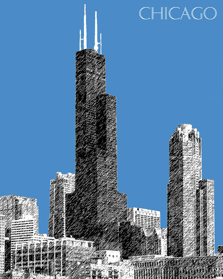 Architecture Digital Art - Chicago Sears Tower - Slate by DB Artist