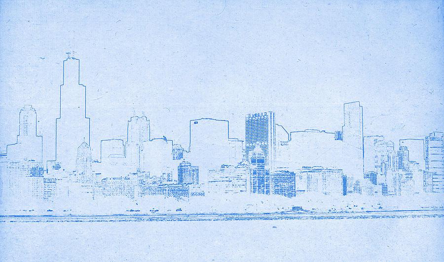 Chicago skyline blueprint drawing digital art by motionage designs poster digital art chicago skyline blueprint drawing by motionage designs malvernweather Images