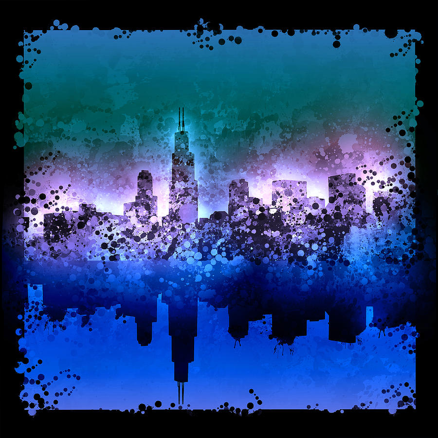 Chicago Skyline Abstract 2 Painting By Bekim Art